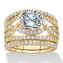 4.44 TCW Round Cubic Zirconia 14k Gold Over Sterling Silver 3-Piece Multi-Row Wedding Ring Set