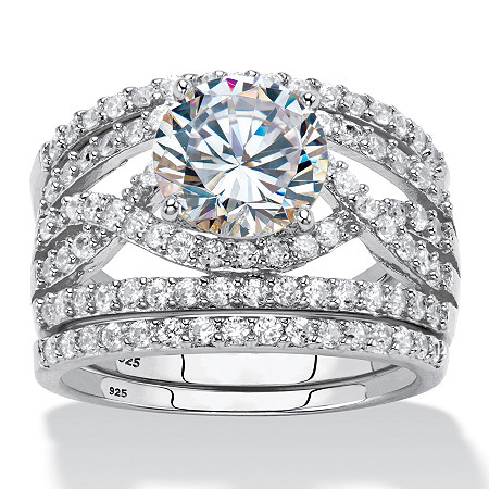 4.44 TCW Round Cubic Zirconia Platinum Over Sterling Silver 3-Piece Wedding Ring Set at PalmBeach Jewelry