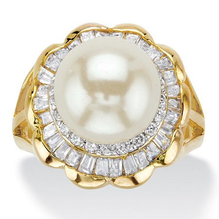 2.50 TCW Simulated Pearl and Baguette Cubic Zirconia Gold-Plated Scalloped Ring at PalmBeach Jewelry
