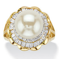2.50 TCW Simulated Pearl and Baguette Cubic Zirconia 14k Gold-Plated Scalloped Ring