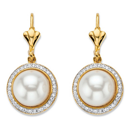 .56 TCW Simulated Pearl and Cubic Zirconia 14k Gold-Plated Halo Half-Moon Lever Back Drop Earrings at PalmBeach Jewelry