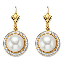 .56 TCW Simulated Pearl and Cubic Zirconia 14k Gold-Plated Halo Half-Moon Lever Back Drop Earrings