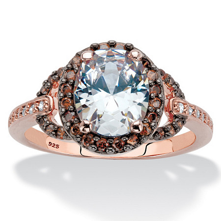 3.06 TCW Oval-Cut White and Chocolate Cubic Zirconia Rose Gold and Black Ruthenium Over Sterling Silver Halo Engagement Ring at PalmBeach Jewelry