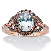 3.06 TCW Oval-Cut White and Chocolate Cubic Zirconia Rose Gold and Black Ruthenium Over Sterling Silver Halo Engagement Ring