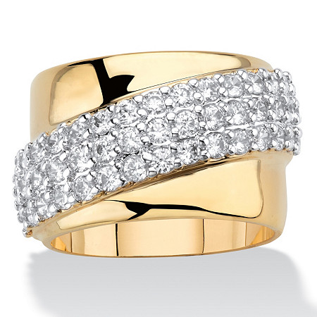 1.49 TCW Round Cubic Zirconia 14k Gold-Plated Diagonal Wide Ring at PalmBeach Jewelry