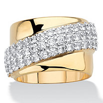 1.49 TCW Round Cubic Zirconia 14k Gold-Plated Diagonal Wide Ring