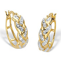 Diamond Accent 14k Gold-Plated Braided Hoop Earring 7/8