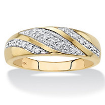 Men's Round Diamond Diagonal Ring 1/5 TCW in Solid 10k Yellow Gold