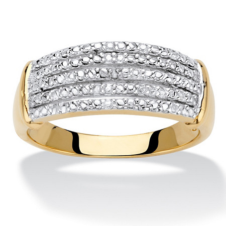 Diamond Accent 14k Gold-Plated Multi-Row Anniversary Ring Band at PalmBeach Jewelry