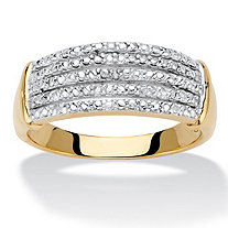 Diamond Accent 14k Gold-Plated Multi-Row Anniversary Ring Band