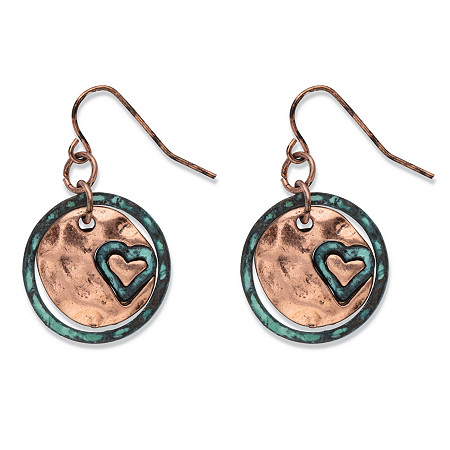 "Hammered Heart Charm Circle Drop Earrings in Antiqued Rose Tone 1"" at PalmBeach Jewelry"