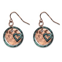 Hammered Heart Charm Circle Drop Earrings