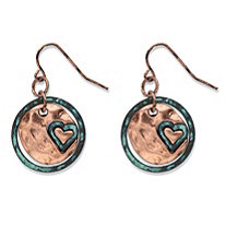 Hammered Heart Charm Circle Drop Earrings in Antiqued Rose Tone 1
