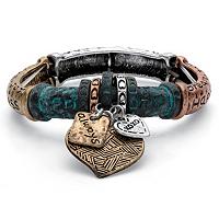 Multi-Color Inspirational Heart Charm Barrel Stretch Bracelet ONLY $5.95