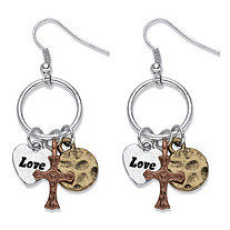 "Tri-Tone ""Love"" Charm Hammered Drop Earrings in Gold Tone, Silvertone and Rose Tone 2"""