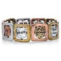 Tri-Tone Inspirational Message Hammered Charm Stretch Bracelet