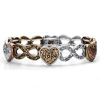 Hammered Tri-Tone Infinity Heart Inspirational Message Stretch Bracelet in Tri-Tone, Silvertone and Gold Tone 7