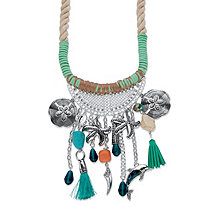 "Crystal Beach Coastal Fringe Charm Statement Necklace in Silvertone with Fabric Twisted Rope 19"" - 20.5"""