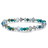 Blue Faceted Beaded Stretch Bracelet With Silvertone Accent