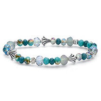 Blue Faceted Beaded Stretch Bracelet with Silvertone Accents 7""