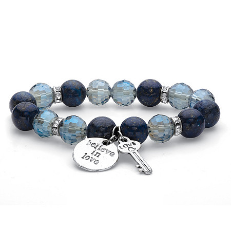 "Crystal Accent Blue Faceted Beaded ""Believe in Love"" Key Charm Stretch Bracelet in SIlvertone 7"" at PalmBeach Jewelry"