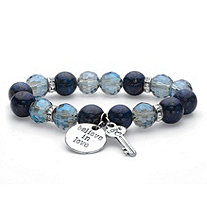 "Crystal Accent Blue Faceted Beaded ""Believe in Love"" Key Charm Stretch Bracelet in SIlvertone 7"""