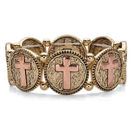 Two-Tone Hammered Coin Cross Stretch Bracelet in Gold Tone and Rose Tone 7