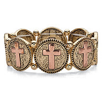 SETA JEWELRY Two-Tone Hammered Coin Cross Stretch Bracelet in Gold Tone and Rose Tone 7