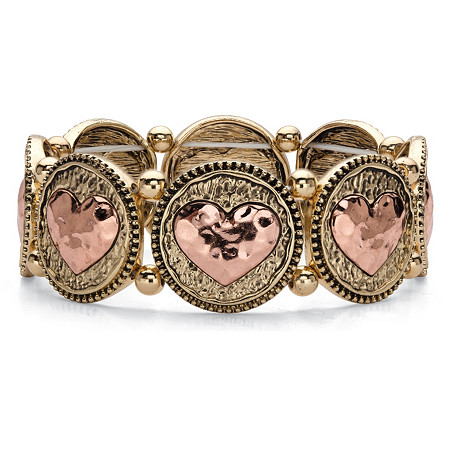 Two-Tone Hammered Heart Coin Stretch Bracelet in Gold Tone and Rose Tone 7