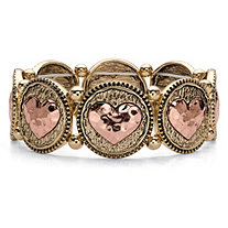 Two-Tone Hammered Heart Coin Stretch Bracelet in Gold Tone and Rose Tone 7""