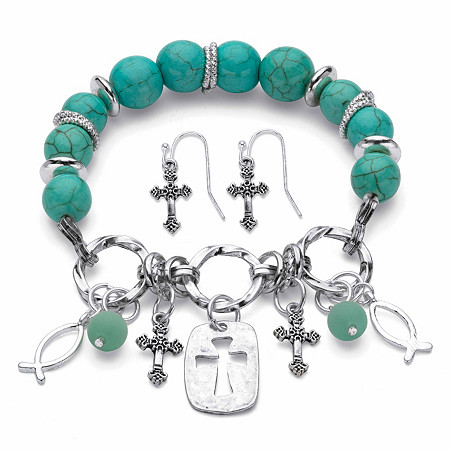 "Simulated Turquoise Antiqued Silvertone Beaded Inspirational 2-Piece Cross Earring and Stretch Bracelet Set 7"" at PalmBeach Jewelry"