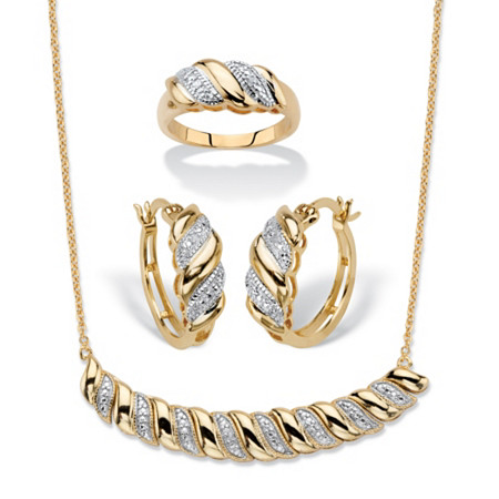 """Diamond Accent Gold-Plated Diagonal Banded S-Link Necklace, Hoop Earrings and Ring 3-Piece Set 18"""" at PalmBeach Jewelry"""