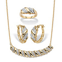 Diamond Accent 14k Gold-Plated Diagonal Banded S-Link Necklace, Hoop Earrings and Ring 3-Piece Set 18""