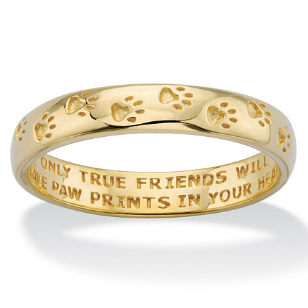 "Paw Print Inscribed ""Only True Friends"" Stamped Band in Solid 10k Yellow Gold at PalmBeach Jewelry"