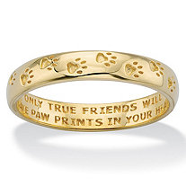 "Paw Print Inscribed ""Only True Friends"" Stamped Band in Solid 10k Yellow Gold"
