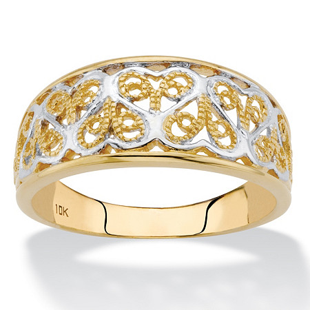 Two-Tone Solid 10k Yellow and White Gold Filigree Hearts Band at PalmBeach Jewelry