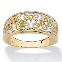 SETA JEWELRY Two-Tone Solid 10k Yellow and White Gold Filigree Hearts Band