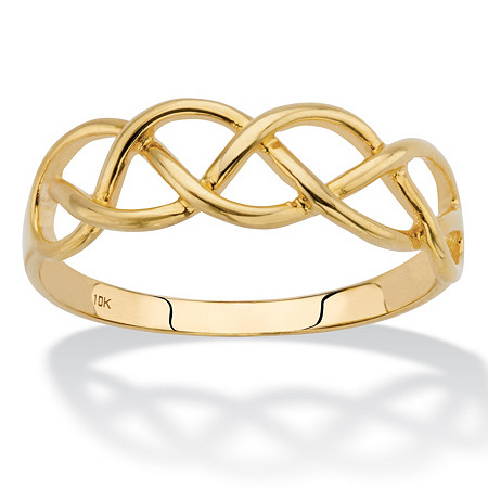 Solid 10k Yellow Gold Braided Twist Ring at PalmBeach Jewelry