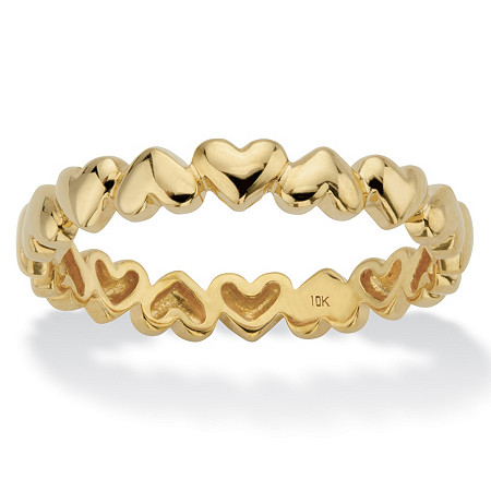 Polished Heart-Link Eternity Ring in Solid 10k Yellow Gold at PalmBeach Jewelry