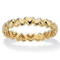 Polished Heart-Link Eternity Ring in Solid 10k Yellow Gold