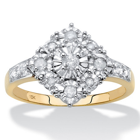 Round Diamond Squared Cluster Ring 1/4 TCW in Solid 10k Yellow Gold at PalmBeach Jewelry