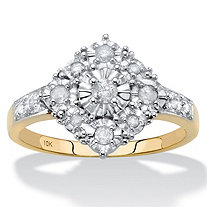 Round Diamond Squared Cluster Ring 1/4 TCW in Solid 10k Yellow Gold