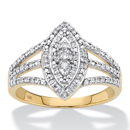 Round Diamond Marquise-Shaped Cluster Ring 1/7 TCW in Solid 10k Yellow Gold at PalmBeach Jewelry