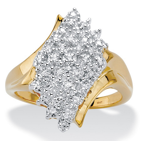 Round Diamond Diagonal Wave Cluster Ring 1/10 TCW in Solid 10k Yellow Gold at PalmBeach Jewelry