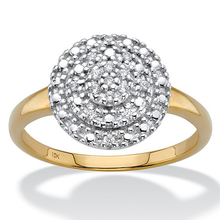 Round Diamond Cluster Ring 1/10 TCW in Solid 10k Yellow Gold at PalmBeach Jewelry