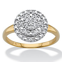 1/10 TCW Round Diamond Solid 10k Yellow Gold Cluster Ring