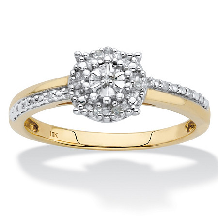Round Diamond Accent Cluster Engagement Ring in Solid 10k Yellow Gold at PalmBeach Jewelry