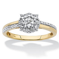Round Diamond Accent Solid 10k White and Yellow Gold Textured Engagement Ring