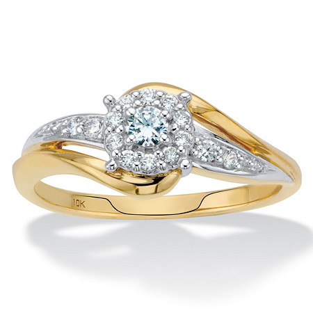 1/4 TCW Round Diamond Cluster Bypass Engagement Ring in Solid 10k Yellow Gold at PalmBeach Jewelry