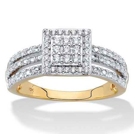 1/4 TCW Diamond Solid 10k Yellow Gold Squared Cluster Triple-Row Ring at PalmBeach Jewelry